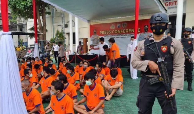 Polrestabes Surabaya Berhasil Tangkap 49 Tersangka Kejahatan 3C